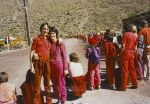 Waiting with Peter (15) for Bhagwan to drive by, in Rajneeshpuram, in 1984