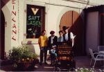 The opening of the new Saftladen in Karlsruhe, in 1989. I am standing next to the organ grinder.